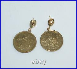 Vintage 14 kt Yellow Gold and Italian Coin Pierced Earrings