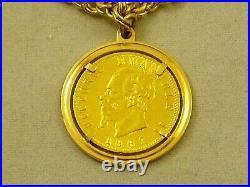 Vintage 14k Solid Gold Charm Bracelet & Rare 1863 22k Italy 20 lire Coin, 18.2g