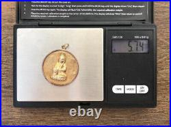 Vintage 14k Yellow Gold Chinese Happiness Symbol/Budda DoubleSided Coin Pendant