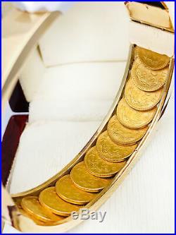 Vintage 18K& 21.6K Gold 13 Mexican Coins 1945 2 PESOS Bangle Bracelet 57.30Grams