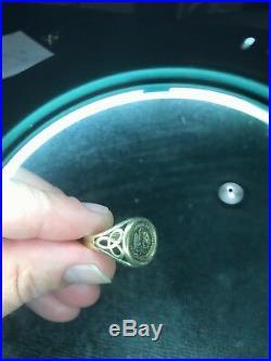 Vintage 1945 Mexican Dos Pesos 22K Coin Ring in 14K 585 Coin Gold, 4.6 Grams
