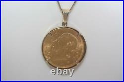 Vintage 22K 1959 Mexico Gold 10 Pesos Coin Charm Pendant 14K Yellow Gold Bezel