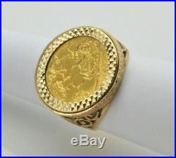 Vintage 22ct George V 1914 Half Sovereign Coin in 9ct Ring Mount UK Size Q 1/2