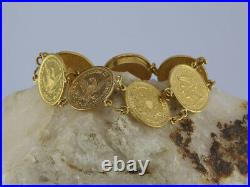 Vintage 24K Chinese Coin Bracelet, Made with US Liberty Head $2.50 Gold Coins
