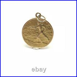 Vintage 9ct Gold William Shakespeare Tempest Coin Pendant Hallmark 1975 Charm