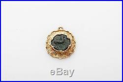 Vintage Ancient Genuine WIDOWS MITE Coin 14k Yellow Gold Pendant & COA