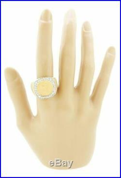 Vintage Estate 14k Yellow Gold 1.00ctw Diamond $1 Indian Princess Coin Ring