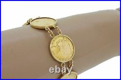 Vintage Estate 14k Yellow Gold $2.5 22k Indian Head Coin Bracelet