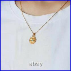 Vintage Natural Green Emerald Evil Eye Women Coin Pendant Solid 14K Yellow Gold