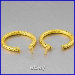 Vintage Roberto Coin 18k Solid Yellow Gold Silk Weave Hoop Earrings 5.4g