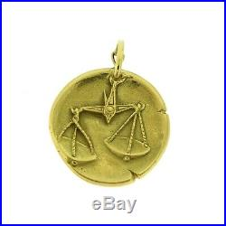 Vintage VAN CLEEF & ARPELS Libra Zodiac Pendant Charm Coin, 18k Yellow Gold