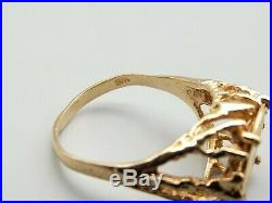 Vtg 14K Gold Imperio Mexicano Coin Ring Sz 5 Maximiliano Mexico Eagle 1865
