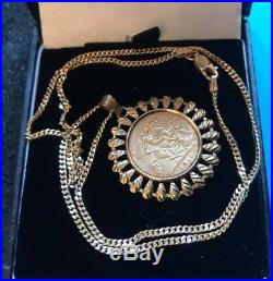 Vtg 9ct / 22ct Gold Half Sovereign 1911 Coin Pendant Curb Chain Necklace 11.4g