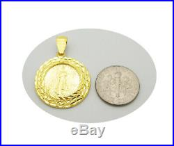 Walking Liberty Coin and Bezel Pendant 10K Yellow Gold