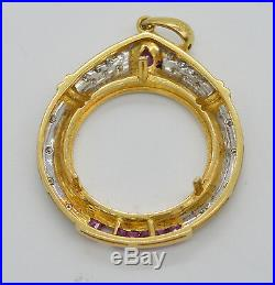 #jc132 Quarter Eagle Coin 18k Gold Diamond Bezel Pendant Frame